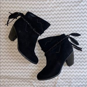 Not Rated black tassel booties 8.5